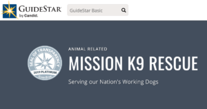 Mission K9 Rescue has a Platinum Rating from Guidestar