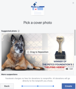 Create Facebook Fundraiser for Mission K9 Rescue